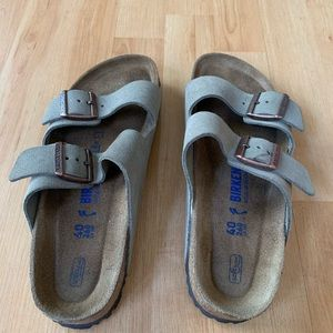 Birkenstock sandals. Taupe color